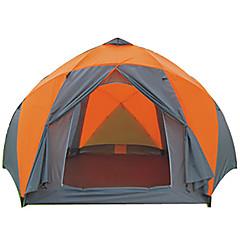>8 사람 텐트 더블 베이스 캠핑 텐트 투 룸 접이식 텐트 수분 방지 방수 비 방지 통기성 용 하이킹 캠핑 여행 야외 2000-3000 mm 유리 섬유 옥스포드 CM