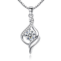 Women's Pendant Necklaces Sterling Silver Cubic Zirconia Unique Design Costume Jewelry Jewelry For Wedding Party Special Occasion
