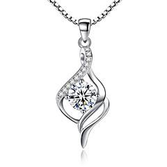 Dame Anheng Halskjede Sølv Kubisk Zirkonium Unikt design kostyme smykker Smykker Til Bryllup Fest Spesiell Leilighet Engasjement