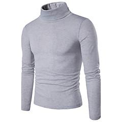 Herren Standard Pullover-Lässig/Alltäglich Einfach Solide Rollkragen Langarm Baumwolle Frühling Mittel Mikro-elastisch