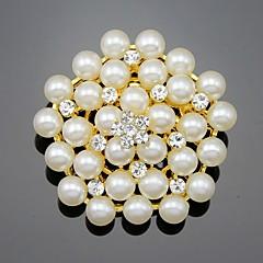 Dámské Dívčí Brože Květiny Květinový Perly Křišťál Slitina Flower Shape Šperky Pro Svatební Párty Zvláštní příležitosti Denní
