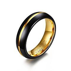 Herre Ring Enkelt design Personalisert Euro-Amerikansk Enkel Stil kostyme smykker Mote Gullbelagt Volframstål Sirkelformet Rund Form