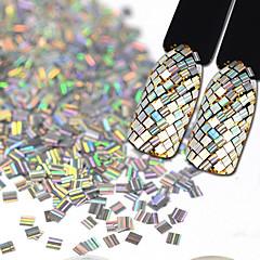 3 * 3mm şerit lazer renk entrika paleo nail art süslemeleri 2g