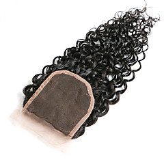 cheap Closure & Frontal-Classic Kinky Curly 4x4 Closure Swiss Lace Human Hair Free Part Middle Part 3 Part High Quality Daily