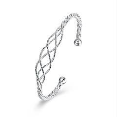 billiga Armband-Dam Sterlingsilver Manschett Armband - Lyx Natur Vänskap film smycken Mode Geometrisk Silver Armband Till Julklappar Bröllop Party