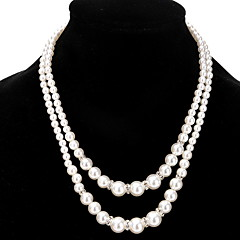 Chain Necklaces Strands Necklaces Layered Necklaces Women's Girls' Imitation Pearl Rhinestone Jewelry Elegant Classic Party Daily Engag Movie Jewelry