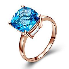 billige Motering-Dame Syntetisk Diamant Ring - Rose gull, Kubisk Zirkonium, Sølvplett Mote 5 / 6 / 7 / 8 Blå / Lysebrun Til Bursdag Gratulerer Gave