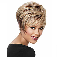 cheap Wigs & Hair Pieces-Synthetic Wig Women's Straight Black Synthetic Hair Black Wig Short Capless Dark Blonde