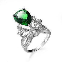 Women's Ring Synthetic Emerald Unique Design Fashion Euramerican Zircon Emerald Alloy Jewelry Jewelry For Wedding Special Occasion