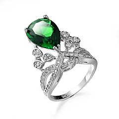 Naisten Sormus Synteettinen Emerald Uniikki Muoti Euramerican Zirkoni Smaragdi Metalliseos Korut Korut Käyttötarkoitus Häät