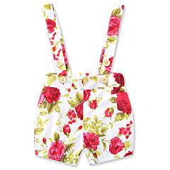 voordelige Broeken voor baby's-Bloemen Heelal Katoen Linnen Zomer Mouwloos Baby Meisjes Overall & Jumpsuit Bloemen Rood