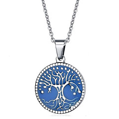 cheap Necklaces-Women's Tree of Life Stainless Steel Pendant Necklace Statement Necklace - Personalized Luxury Geometric Circular Unique Design Logo