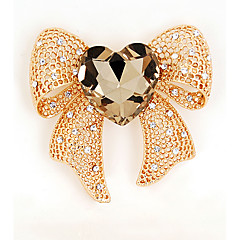 cheap Pins and Brooches-Women's Girls' Brooches Bow Crystal Alloy Bowknot Gold Black Jewelry For Wedding Party Special Occasion Casual