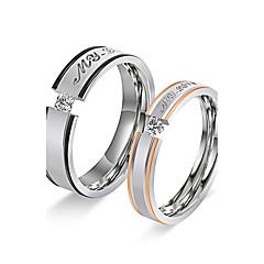preiswerte -Paar Bandringe Verlobungsring Kubikzirkonia Kreis Edelstahl Kubikzirkonia Runde Form Schmuck Für Hochzeit Verlobung Alltag