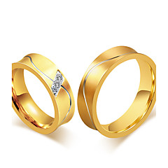 cheap Rings-Couple's Ring Band Ring AAA Cubic Zirconia Gold Cubic Zirconia Titanium Steel 18K Gold Round Vintage Elegant Fashion Simple Style Wedding