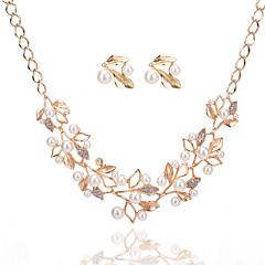 Women's Jewelry Set Necklace/Earrings Bridal Jewelry Sets Imitation Pearl Rhinestone Luxury Dangling Style Pendant Rhinestone Circle