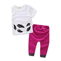 billige Tøjsæt til piger-Baby Pige Blomster / Pænt tøj Geometrisk / Mode Kortærmet Normal Normal 100 % bomuld Tøjsæt Hvid 100