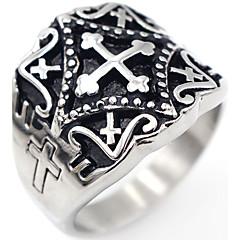 男性用 指輪 ジュエリー 十字架 コスチュームジュエリー ステンレス鋼 クロス ジュエリー 用途 パーティー 日常 カジュアル クリスマスギフト