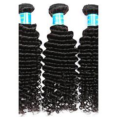 お買い得  人毛つけ毛-ベトナミーズヘア カール / ウェーブ バージンヘア 人間の髪編む 3バンドル 人間の髪織り ブラック 人間の髪の拡張機能