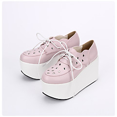 cheap Lolita Footwear-Lolita Shoes Gothic Lolita Dress Punk Lolita Dress Lolita Lace Up Platform Lolita 10cm CM Pink For PU Leather PU Leather / Polyurethane