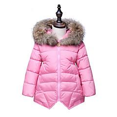 billige Jakker og frakker til piger-Pige dun- og bomuldsforet Mode Helfarve,Bomuld Vaskebjørnspels Vinter Langærmet