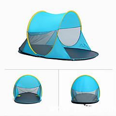 billige Telt og ly-3 person Telt Strandtelt Utendørs Regn-sikker, Støvtett Med enkelt lag camping Tent 1000-1500 mm til Camping & Fjellvandring Terylene