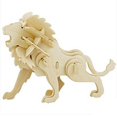 cheap -Robotime 3D Puzzle Jigsaw Puzzle Wood Model Model Building Kit Lion DIY Wood Natural Wood Kid's Unisex Gift