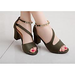abordables Talons pour Femme-Femme Similicuir Eté Escarpin Basique Chaussures à Talons Bout ouvert Billes Gris / Vert / Rose / EU39