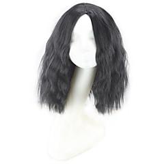 billiga Peruker och hårförlängning-Syntetiska peruker Lockigt / Naturligt vågigt / Jerry Lockigt Bob-frisyr / Frisyr i lager / Asymmetrisk frisyr Syntetiskt hår Naturlig hårlinje / Till färgade kvinnor Svart Peruk Dam Korta / Mellan