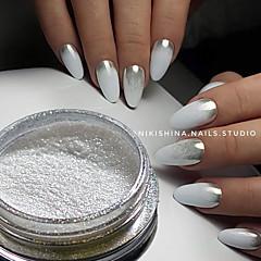 1g / sticla fierbinte de moda superba magie argintiu oglinda efect pigment unghii de arta sclipici pulbere manichiura diy frumusete praf