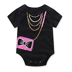 billige Babytøj-Baby Pige Tegneserie / Pænt tøj Geometrisk / Mode Trykt mønster Kortærmet Bomuld Bodysuit