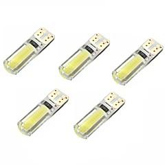 2w dc12v hvit t10 2cob canbus dekorativt lampe leselampe nummerplate dørlampe 5pcs