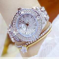 cheap Women's Watches-Women's Luxury Watch Dress Watch Wrist Watch Stainless Steel Silver / Gold Water Resistant / Waterproof Chronograph Creative Analog Ladies Luxury Simulated Diamond Watch Fashion Elegant - Gold Silver