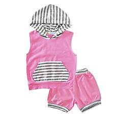 billige Babytøj-Baby Pige Stribet Afslappet / Hverdag Stribe Uden ærmer Bomuld Tøjsæt