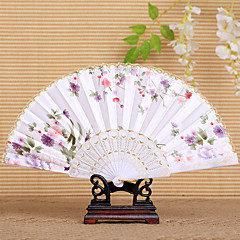 cheap Fans & Parasols-Pretty Floral Waved Hand Fan (Set of 4) Wedding Favors Classic Them