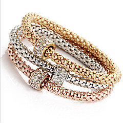 Women's Girls' Chain Bracelet Bangles Wrap Bracelet Imitation Diamond Natural Friendship Ferroalloy Round Jewelry ForWedding Party