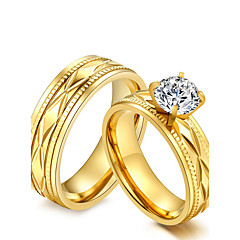 cheap Rings-Couple's Couple Rings AAA Cubic Zirconia Gold Cubic Zirconia Titanium Steel Round Vintage Elegant Fashion Wedding Party Anniversary
