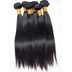 お買い得  ヘアエクステンション-ブラジリアンヘア ストレート 人間の髪編む 6バンドル 8-26インチ 人間の髪織り ブラック 女性用
