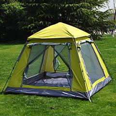 お買い得  テント/シェルター-4人 スクリーン付きテント / スクリーンタープ / 自動テント シングル 自動 ツールームテント キャンプテント アウトドア 防水, 通気性, UVプロテクション のために キャンピング&ハイキング 1500-2000 mm タフタ, ポリエステルタフタ, シルバーテープ 220*220*165 cm