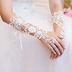 Lace Elbow Length Glove Bridal Gloves With Rhinestone Appliques Floral