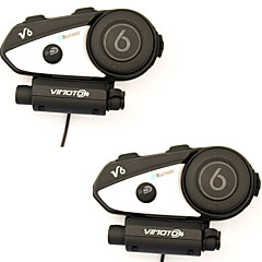2pcs v6 multifunctionele 2-way radio bt interfoon motorhelm Bluetooth intercom headset