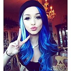 Χαμηλού Κόστους Συνθετικές περούκες με δαντέλα-Συνθετικές μπροστινές περούκες δαντέλας Κυματιστό Συνθετικά μαλλιά Φυσική γραμμή των μαλλιών Μπλε Περούκα Γυναικεία Μακρύ Δαντέλα Μπροστά Βαθυγάλαζο Uniwigs