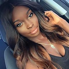 billiga Peruker och hårförlängning-Äkta hår Spetsfront Peruk Kroppsvågor 150% Densitet 100 % handbundet Afro-amerikansk peruk Naturlig hårlinje Ombre-hår Faux Locs Wig