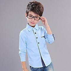 baratos Roupas de Meninos-Para Meninos Camisa Poá Retalhos Primavera Outono Algodão Manga Longa Pontos Rosa Azul Claro