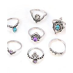 Női Midi gyűrűk Kristály Strassz Divat Régies (Vintage) elegáns Kristály Hamis gyémánt Ötvözet Round Shape Flower Shape Ékszerek