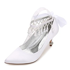 cheap Wedding Shoes-Women's Shoes Satin Spring Summer Comfort Basic Pump Wedding Shoes Kitten Heel Cone Heel Low Heel Stiletto Heel Pointed Toe Rhinestone
