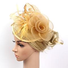 baratos -Feather net fascinators flowers headpiece estilo feminino clássico