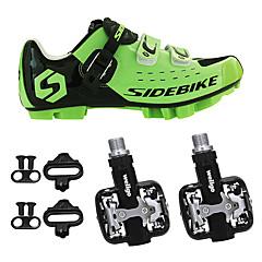 billige Sykkelsko-SIDEBIKE Voksne Sykkelsko med pedal og tåjern / Mountain Bike-sko Nylon Anti-Ryste / Demping, Demping, Anvendelig Sykling Grønn / Svart Herre