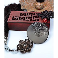 Diy pendentes automotivos dragão de obsidiana de estilo chinês paz e benção pingente de carro&Ornamentos de cristal de jade