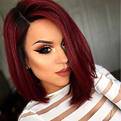 cheap Wigs & Hair Pieces-Synthetic Wig Women's Straight Ombre Bob Synthetic Hair Ombre Hair Ombre Wig Short Capless Black / Burgundy